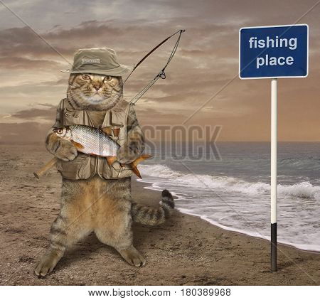 The cat fisher holds his catch. This is a really big fish.