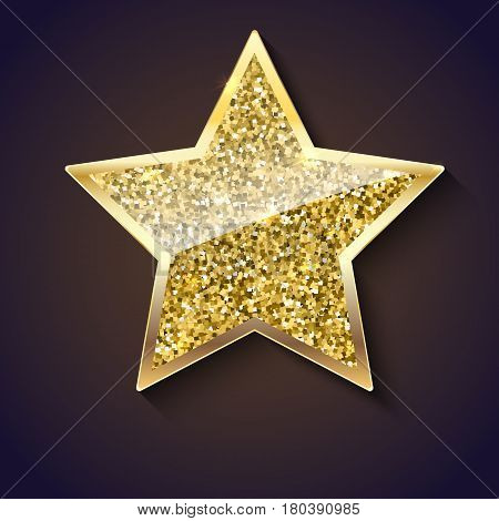 Golden star with glitter and reflex. Glittering toy shaped star with gold border, Christmas ornament. Vector luxury gold star isolated on dark background