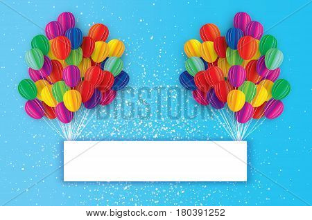 Flying Paper cut balloons with Rectangle frame. Colorful decoration for party, celebration, banner, card, gift. Happy Birthday Greeting card. Space for text. Rainbow Origami bunch baloon.Vector