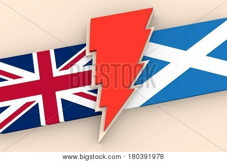 Image relative to politic situation between Great Britain and Scotland. Politic process named as brexit. National flags and lighting. 3D rendering