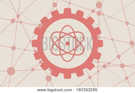 Pictograph of atom in the center of gear. Molecule And Communication Background. Brochure or report design template. Connected lines with dots.