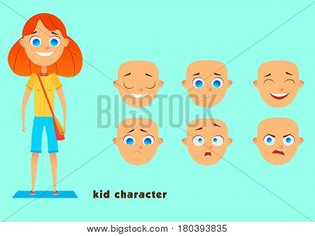 The pupil sets the character for your scenes. Parts of the template for design and animation. Set of emotions of the face. A funny cartoon character.