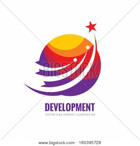 Development - vector logo template illustration. Globe with orbits, satellites and star spaceship. Abstract shapes. Global internet concept sign. Design element.
