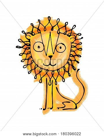 Hand drawn illustration or drawing of a childish lion