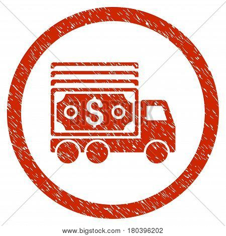 Cash Lorry grainy textured icon inside circle for overlay watermark stamps. Flat symbol with scratched texture. Circled vector red rubber seal stamp with grunge design.