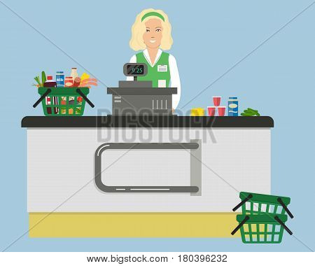 Web banner of a supermarket cashier. The young woman is standing near the cash register. There is also a shopping cart with products in the picture. Raster copy.