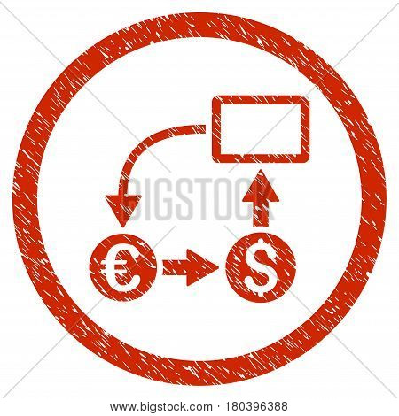 Cashflow Euro Exchange grainy textured icon inside circle for overlay watermark stamps. Flat symbol with unclean texture. Circled vector red rubber seal stamp with grunge design.