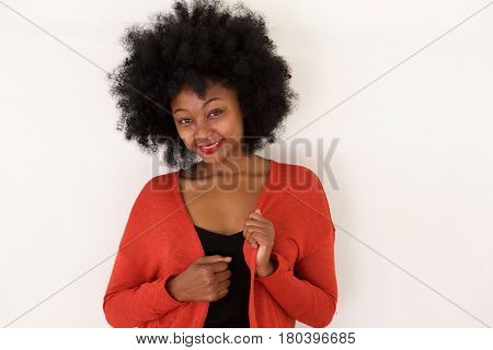 Fashionable Young Black Woman In Red Sweater Smiling