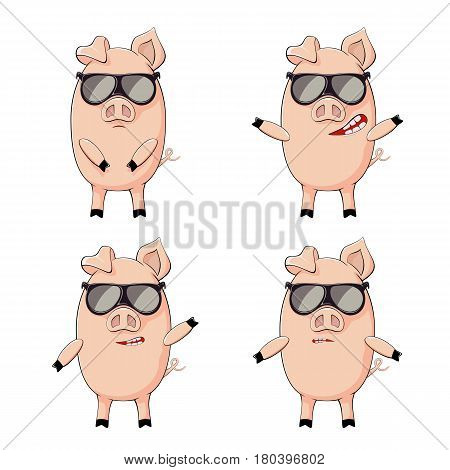 Set of little pink pigs with black sunglasses isolated on white background, illustration.