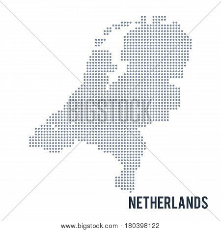 Vector dotted map of Netherlands isolated on white background . Travel vector illustration