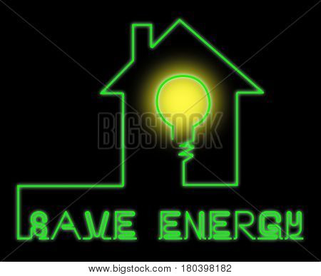 Save Energy Bulb Shows Reduce Electric 3D Illustration