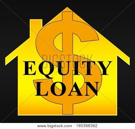 Equity Loan Dollar Icon Shows Capital And Lending 3d Illustration poster