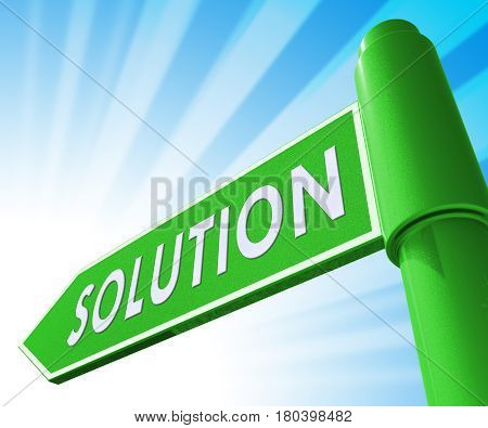 Solution Sign Showing Solving Successful 3D Illustration