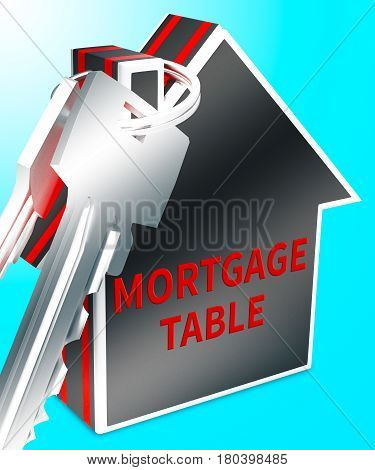 Mortgage Table Represents Loan Calculator 3D Rendering