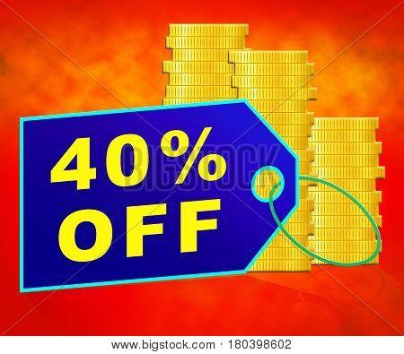 Forty Percent Off Represents 40% Discount 3D Illustration