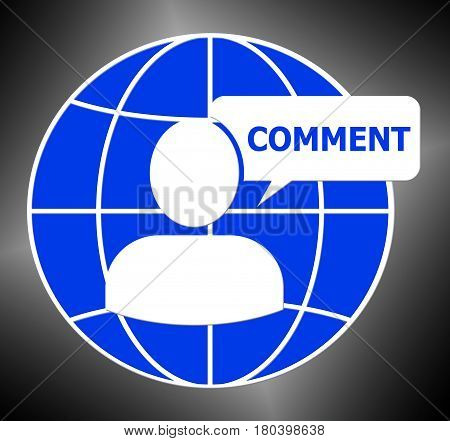 Comment Icon Shows Feedback Report 3D Illustration