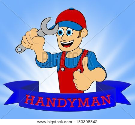 House Handyman Displaying Home Repairman 3D Illustration