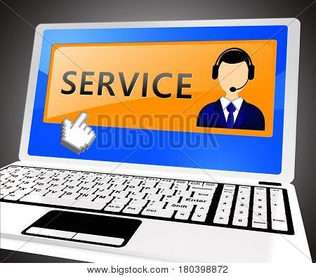 Service Laptop Meaning Help Support 3D Illustration