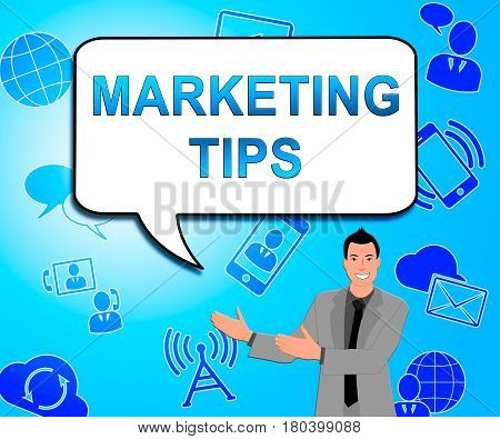 Marketing Tips Showing Emarketing Advice 3D Illustration