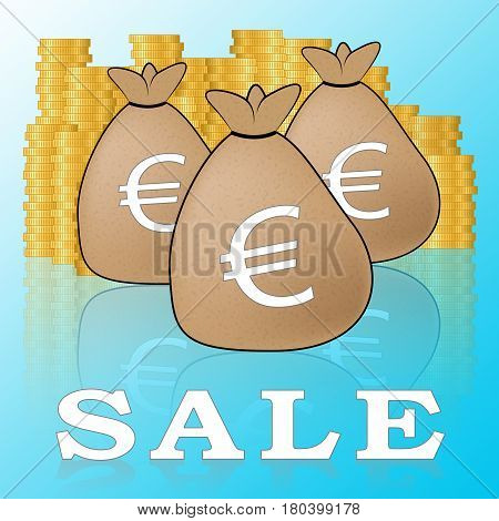 Euro Sale Means Promotion And Discounts 3D Illustration