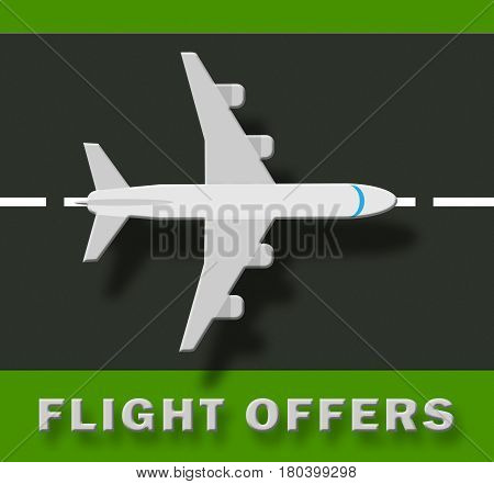 Flight Offers Representing Airplane Sale 3D Illustration