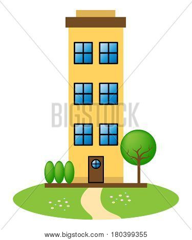 Apartment Building Represents Condo Property 3D Illustration