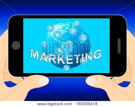 Online Marketing Shows Market Promotions 3D Illustration