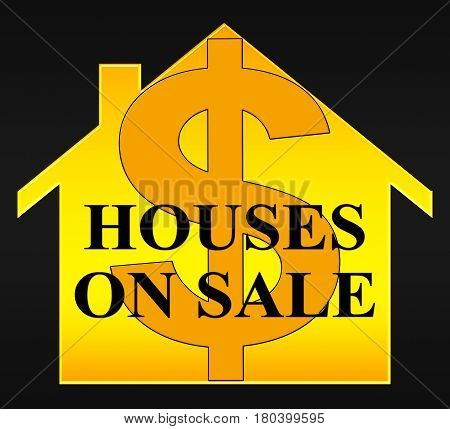 Houses On Sale Means Sell House 3D Illustration