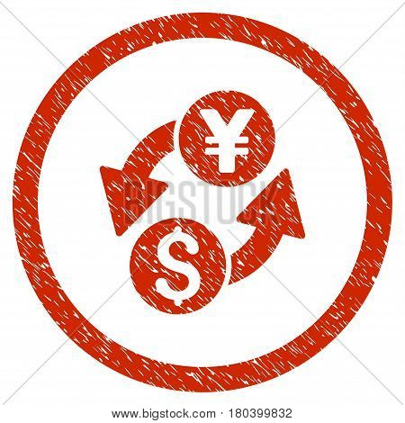 Dollar Yen Exchange grainy textured icon inside circle for overlay watermark stamps. Flat symbol with scratched texture. Circled vector red rubber seal stamp with grunge design.