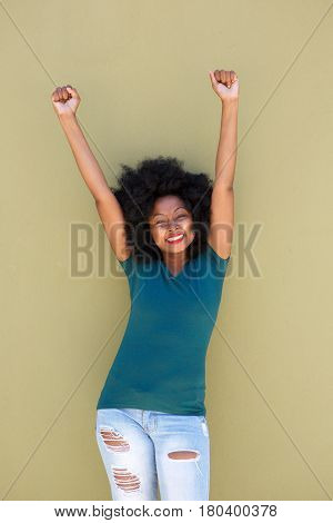Happy Beautiful Woman With Outstretched Arms Smiling