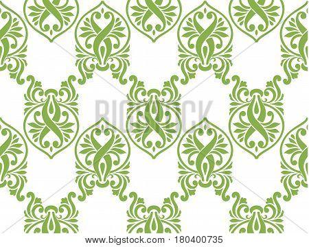 Green ecology damascus seamless pattern background, vector illustration. Spring color 2017, wallpaper design, vintage decoration