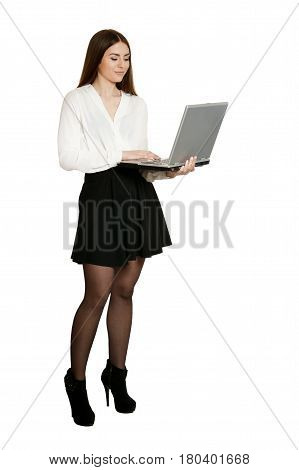 Beautiful woman in white blouse with laptop on white background