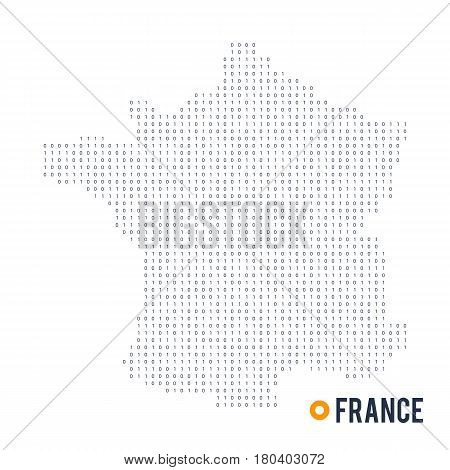 Binary code vector stylized map of France. The concept of digital space country