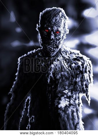 Zombie angry businessman from hell in black and white colors. Scary horror character. Graphic design. Black background. Spooky nightmare terrible monster. Illustration on theme of horror.