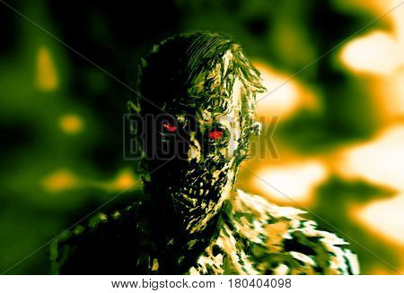 Zombie businessman drawing. The Image of Horror. Green color. Drawing character. Scary face picture. Illustration on theme of horror.