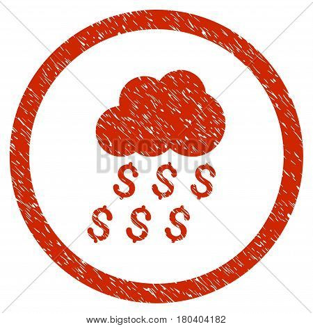 Money Rain grainy textured icon inside circle for overlay watermark stamps. Flat symbol with unclean texture. Circled vector red rubber seal stamp with grunge design.