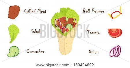Shawarma ingredients, meat, cucumber, tomato, salad, onion, bell pepper and other. Kebab grilled meat, doner fastfood. Cartoon flat style.