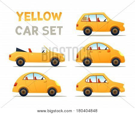 . YELLOW Car collection icon, vector illustration