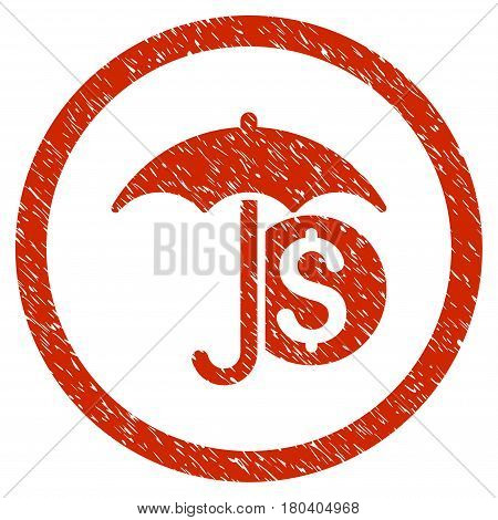 Money Umbrella Protection grainy textured icon inside circle for overlay watermark stamps. Flat symbol with dirty texture. Circled vector red rubber seal stamp with grunge design.