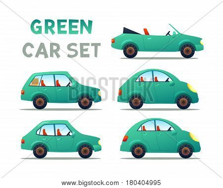 GREEN Car collection icon, vector illustration
