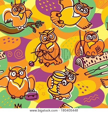 Bright childish backdrop with hand drawn owl characters. Lovely background for decoration of children`s room. Various hobbies: knitting wood carving ceramics