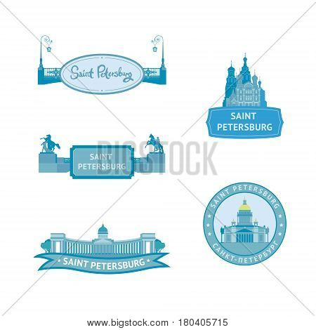 Set of the main sights of Saint-Petersburg Russia: Kazan Cathedral St. Isaac's Cathedral the Cathedral of the Savior on blood Anichkov bridge. Vector labels in blue color