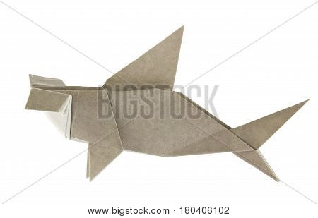 Grey hammerhead shark of origami, isolated on white background.