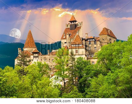 Beautiful and old architecture of the famous Dracula castle in Bran town. Medieval building of Transylvania, in Europe - Romania