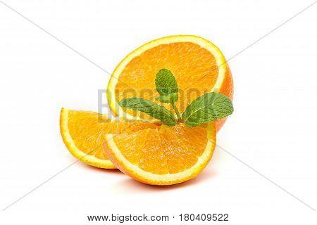 Orange, Orange Slices And Mint Leaves