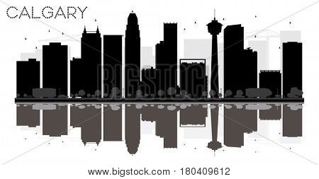 Calgary City skyline black and white silhouette with reflections. Simple flat concept for tourism presentation, banner, placard or web. Cityscape with famous landmarks