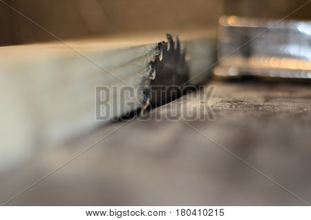 Board On A Table Of Circular Saw. Selective Focus