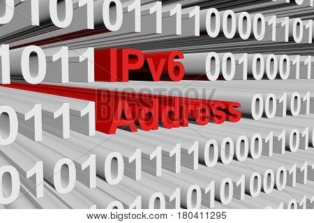 IPv6 address as a binary code 3D illustration