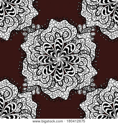 Ornamental lace tracery. Vintage design element in Eastern style. White ornate illustration for sketch. Traditional arabic decor on brown background. Vector seamless pattern with floral ornament.