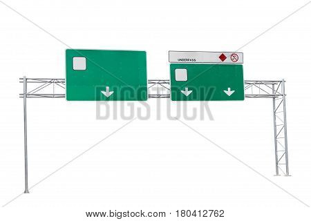 blank green highway road sign isolated on white background.